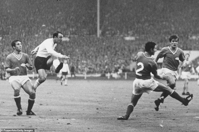 Greaves scored 44 goals for England in just 57 games - he is pictured here playing against France at the 1966 World Cup