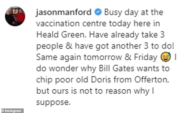 Jibe: The star didn't hold back in taking a swipe at anti-vaxxers, who among other theories have claimed the vaccine was being used to 'chip' people for monitoring
