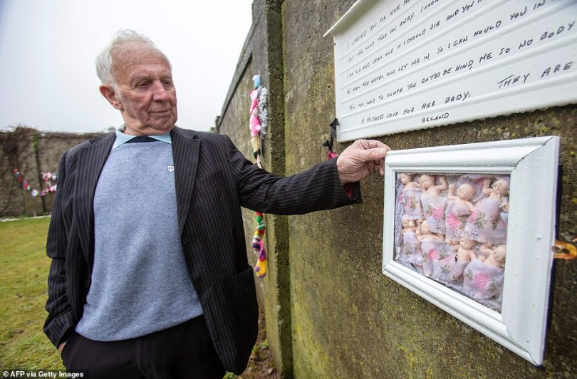 Walter Francis, a survivor of the Bon Secours Mother and Baby Home, poses today at a shrine erected in memory of up to 800 children who were allegedly buried at the site of the former home for unmarried mothers run by nuns