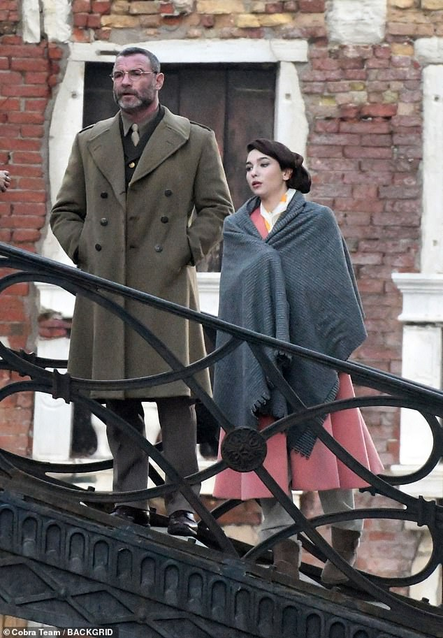 Filming: Matilda De Angelis transformed into her WW2 character as she filmed alongside Liev Shreiber in Venice for Across The River and Into The Trees on Wednesday