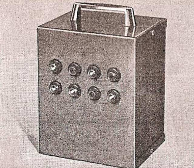 The 'nothing box' as it appeared in an ad. Its eight lights flashed continuously 'in no recognisable pattern for nearly a year' until the battery ran dry. It's often described mistakenly as an Alexis Mardas invention