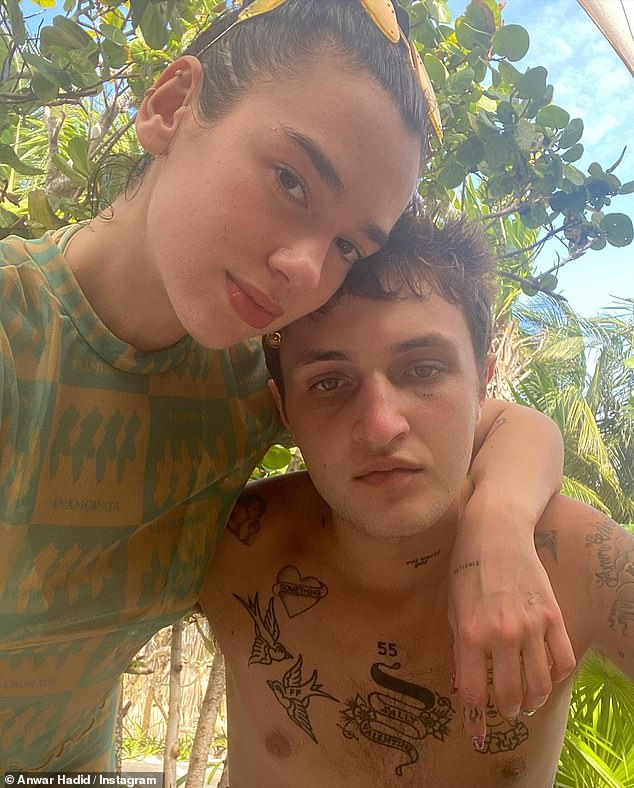 Sweet: The brother of models Gigi and Bella Hadid, looked as loved as ever as he shared snaps with the singer and some of their pals