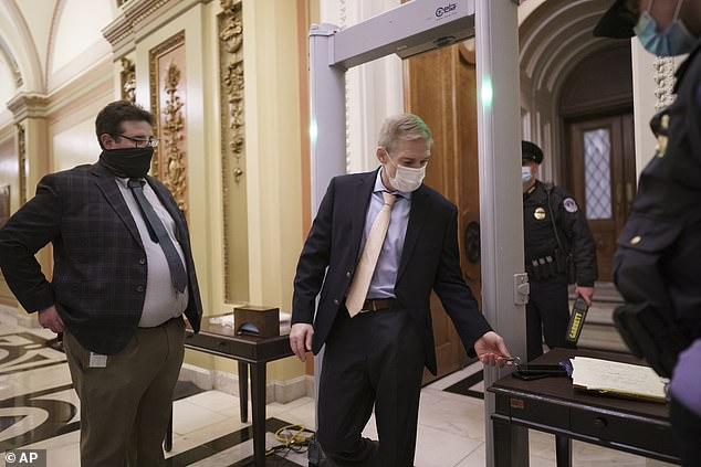 Republican Congressman Jim Jordan, a staunch Trump ally, took the House floor during Tuesday night's debate, to complain about the metal detectors