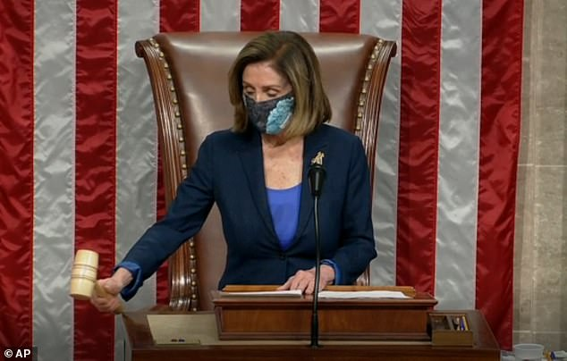 The House, being opened into session by Speaker Nancy Pelosi, is voting on a rule that will fine members of Congress for not wearing masks