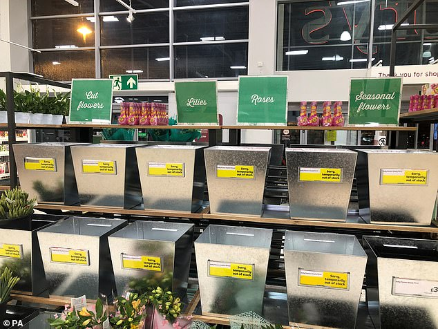 Northern Ireland is following some of the EU's rules to avoid a hard border on the island of Ireland. It is part of the protocol which the UK agreed with Europe. Pictured: Flower buckets were left empty
