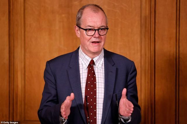 The Government's Chief Scientific Adviser Sir Patrick Vallance (pictured) today said Britain is in a 'period of high death numbers' which will not 'reduce quickly' following Wednesday's grim milestone for fatalities