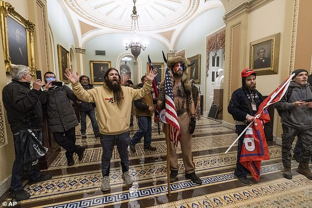 Watson is photographed in the yellow sweater standing next to Jacob Anthony Chansley, 33, who is wearing a horned Viking hat and sporting tattoos. The group was among the first rioters to breach the US Capitol Building last week