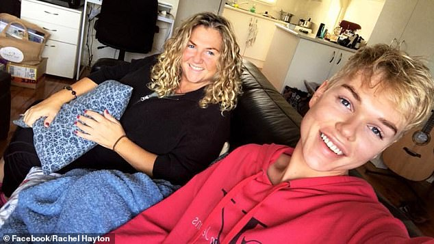 Candid: Jack also revealed that after he won Australia's Got Talent at the tender age of 14, the 'power dynamic' between the pair changed and he felt like he was the 'bread winner' and was 'parenting himself.' Pictured with his motherRachel Hayton