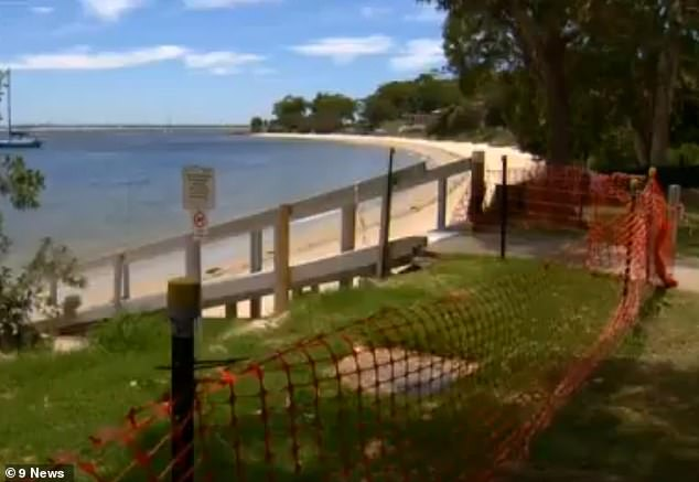 A barrier has been put up to stop locals and holidaymakers from swimming at Nelson Bay following the sewage leak