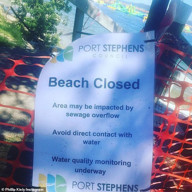 'Beach closed': Port Stephens Council, about 2.5 hours north of Sydney, was forced to shut its beaches from Nelson Bay marina to Fly Point following the spill earlier this week