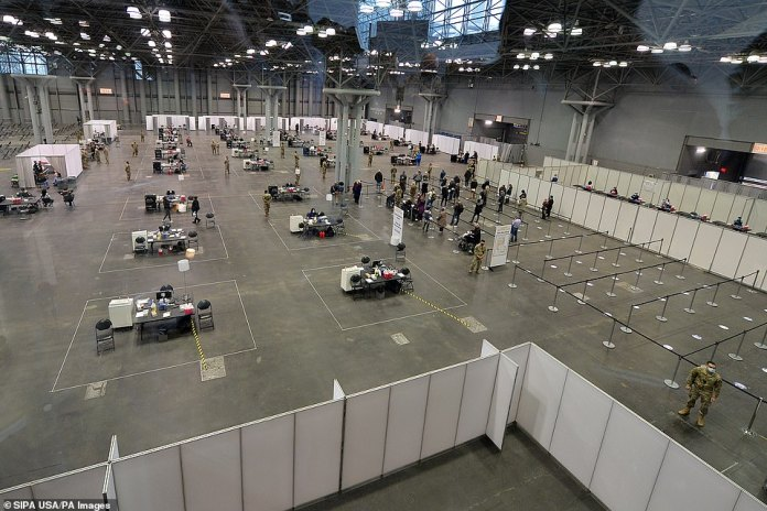 TheJavits Center Field Hospital has been transformed into a large-scale site to administer the vaccine