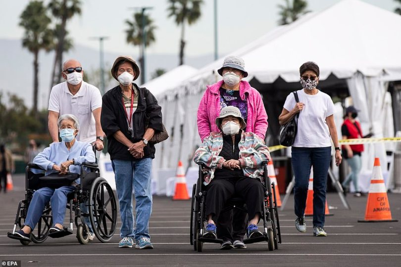 Got the shot! A view of California locals leaving the Disneyland testing site after receiving the vaccine on Wednesday