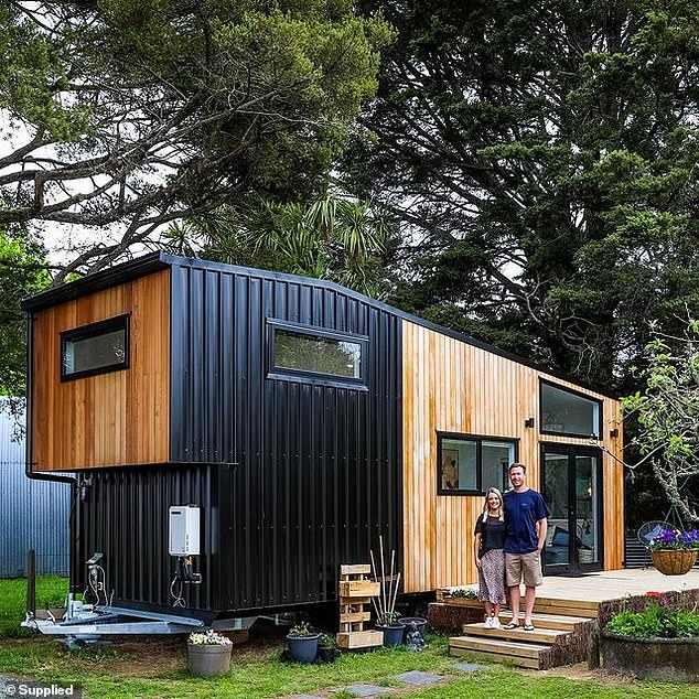 The petite home is built on a custom designed 8.4m trailer from Wee Make Change and is approximately 3m wide and 4.1m high