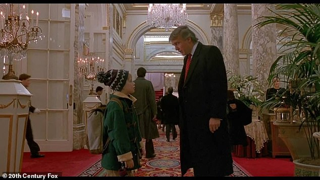 Cameo: Trump made a cameo appearance in the 1992 sequel Home Alone 2, where Macaulay Culkin's Kevin McAllister asks Trump, `` where is the lobby '' and he replies, `` Down the hall and to the left ''