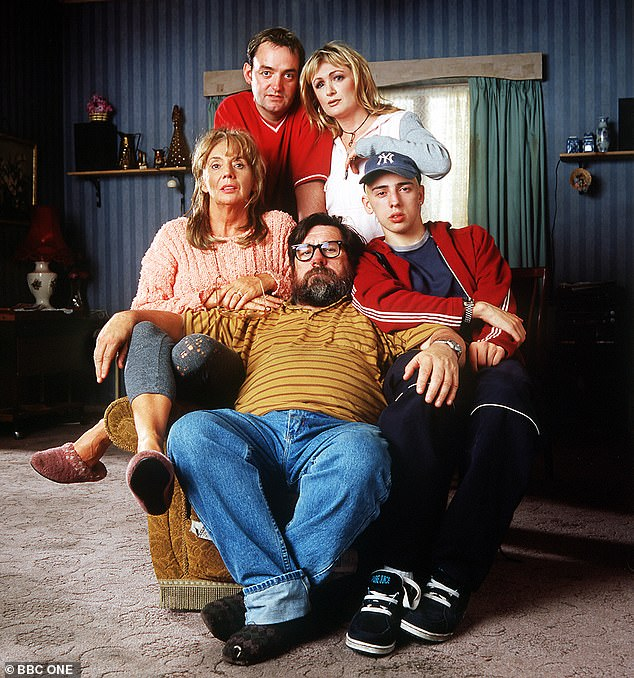 Oh dear! The Royle Family is the latest BBC show to be given a warning for discriminatory language due to Jim Royle's 'nancy boy' slur (clockwise from bottom) Jim (RICKY TOMLINSON), Barbara (SUE JOHNSTON), Anthony (RALPH LITTLE), Denise (CAROLINE AHERNE), Dave (CRAIG CASH) and Nana (LIZ SMITH)