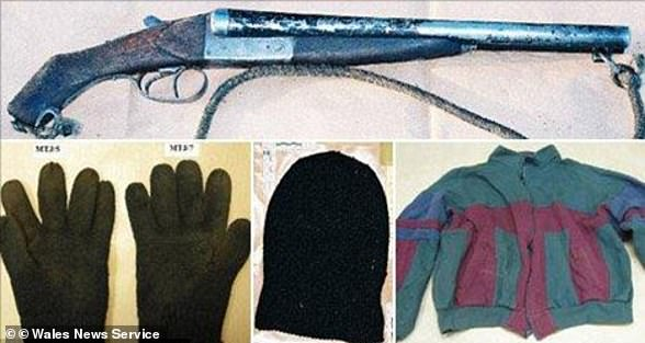 Pictured: the gun John Cooper used to murder the Dixons and items of clothing found at the time