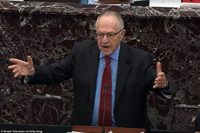 Lawyer Alan Dershowitz, seen at Trump's first impeachment, said he won't defend Trump at a second impeachment trial, but will defend the First Amendment in public