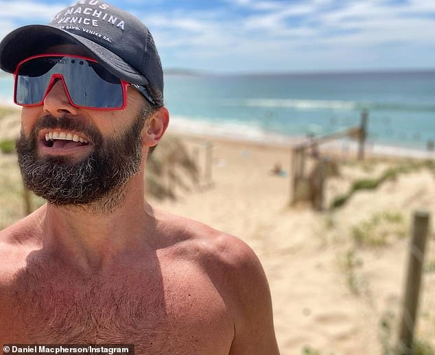Home sweet home: Hours earlier, Dan posted a selfie on Instagram captioned `` Captain Greybeard after a run and swim in the country!  So good to be back 'alongside the hashtag:' Cronullafornia '