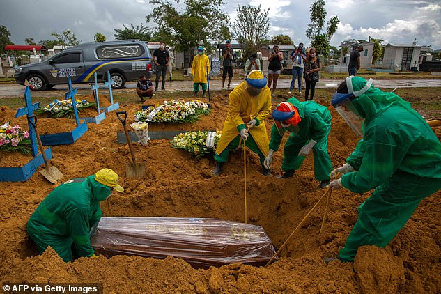 The death toll is creeping higher - with 1,110 Covid-19 victims being recorded on Tuesday. Pictured: Workers bury a victim of Covid-10 while relatives look on from a distance in Manaus, Amazonas state, Brazil