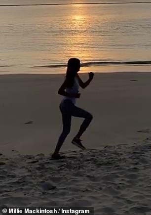 Staying active: as another part saw Millie running on the sand