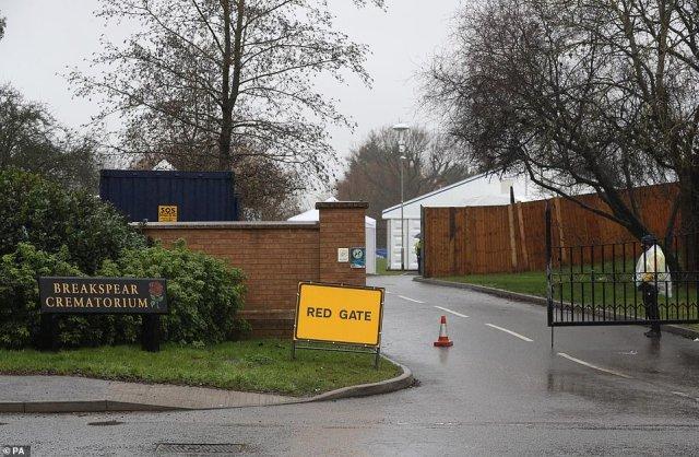 The entrance to the overflow mortuary at Britain's third biggest crematorium, Breakspear Crematorium in Ruislip