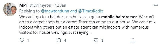 Some people appear confused about lockdown rules, andothers claim getting your hair donw is 'no different' to a plumber or electrician carrying out essential work in a property