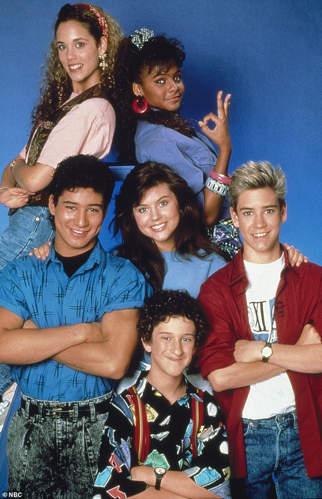 Throwback: Diamond (bottom, center) is pictured with his co-stars on the original run of Saved By The Bell which aired on ABC from 1989 to 1993