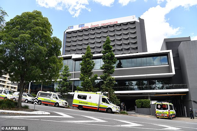 The couple are now undertaking another two weeks of mandatory quarantine at Grand Chancellor Hotel in Brisbane (pictured)