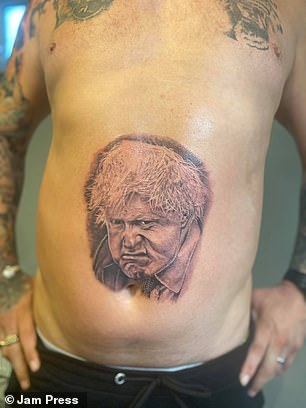 Kenny Wilding (pictured, his tattoo), 42, from Kidderminster, Worcestershire, got the tattoo to raise money to help his friend Megan Smith, 25, to fly to the US for a clinical trial to treat her cancer