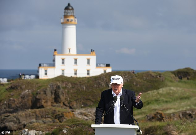 Donald Trump at his revamped Trump Turnberry golf course in South Ayrshire in June, 2016. Reports have been circulating in the UK that Trump plans to fly in the day before the inuaguration