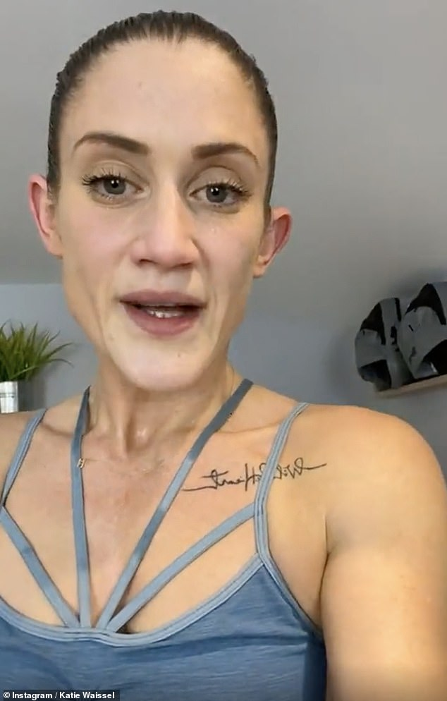 Back at it: Katie Waissel revealed she's started to run again after almost a year off as she shared an 'unedited and human' treadmill workout to Instagram on Wednesday