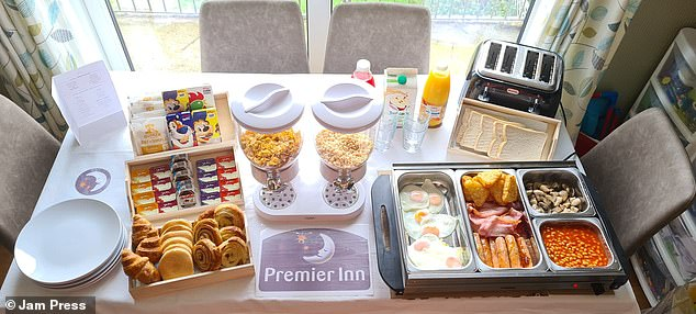 Stacey Brooks, 35, from Newport, South Wales, has revealed how she recreated the classic Premier Inn breakfast buffet at home – complete with cereal dispensers, serving trays, colouring books and miniature condiments