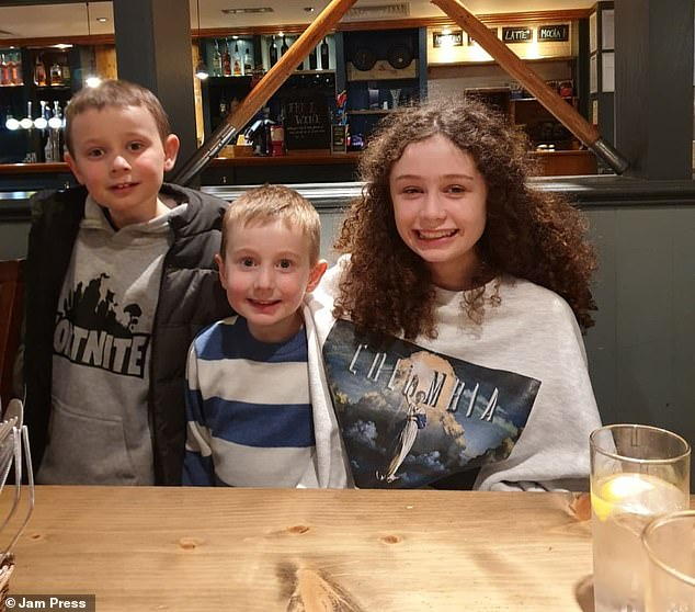 Stacey's children are pictured when they were staying at a Premier Inn in St Austell, Cornwall
