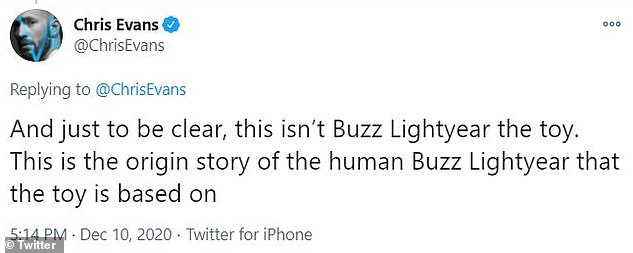 Details:Tim's version of Buzz Lightyear is not the astronaut himself, but a toy of the character, whereas Chris is playing the actual man