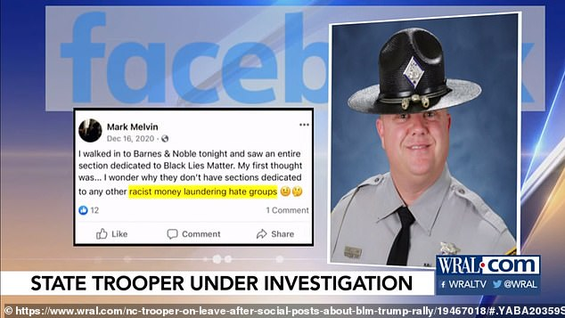 The trooper made the post after visiting a Barnes & Noble and is now under investigation