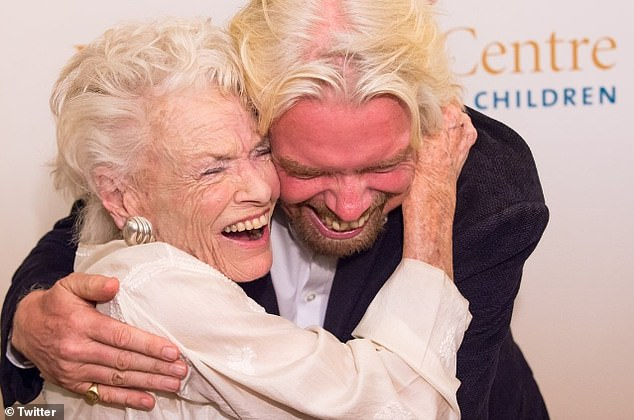 Family bond: The billionaire, 70, credited Eve with helping him launch his company Virgin and said he was 'lucky' to have been able to name the mothership Virgin Galactic after her