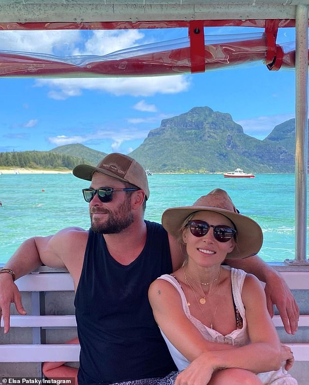 Cute: The couple enjoyed a boat ride around the stunning island
