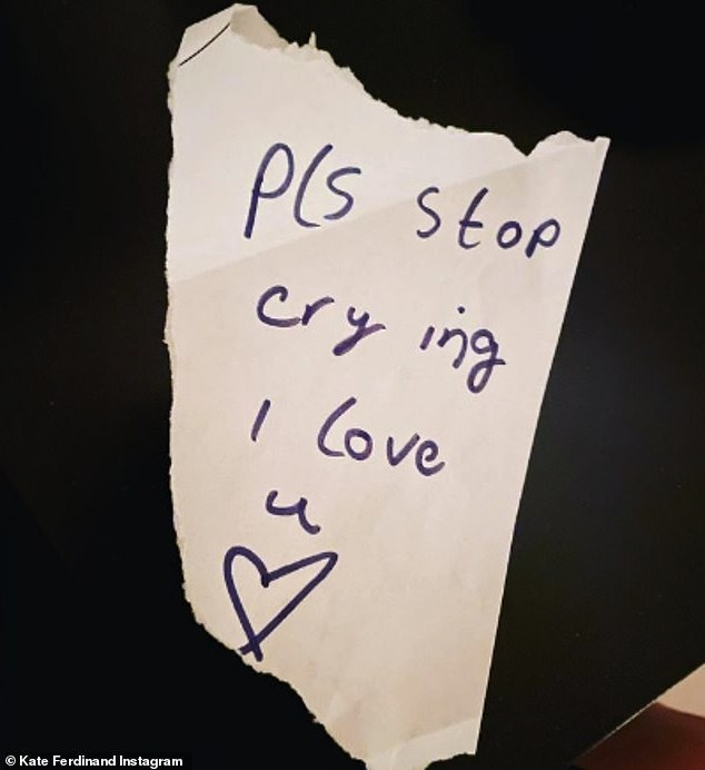'Pls stop crying': Kate Ferdinand showed off a sweet handwritten note from her stepdaughter Tia, nine, asking her to stop crying after feeling overwhelmed with emotion