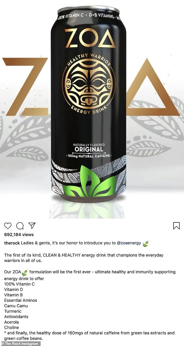 'The first of its kind': The 48-year-old former professional wrestler boasted that the clean and healthy energy drink is 'the first of its kind' as it also supports immunity