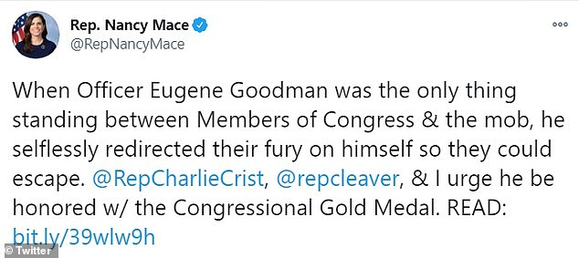 Lawmakers have presented a bipartisan bill recommending the officer, Eugene Goodman, receive the Congressional Gold Medal for his 'bravery'