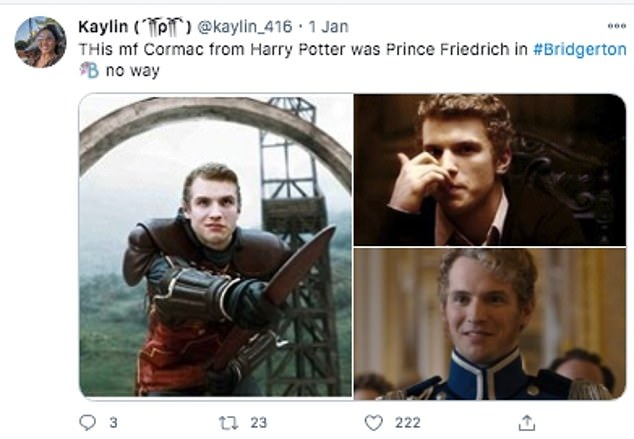 Shocked:Fans were astounded after making the connection with Queen Charlotte's Prince Frederick of Prussia- a far cry from the foolhardy quidditch keeper