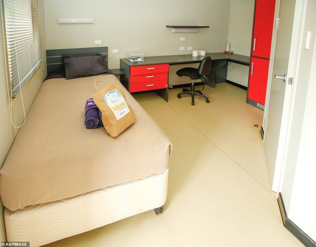 Professional photographers have been granted access to the Howard Springs facility for the first time. Pictured: How a room looks when a detainee arrives