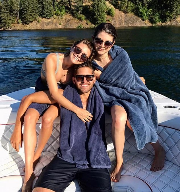 The couplewere both handed jail terms in August after being convicted of fraud for paying William 'Rick' Singer $500,000 to get their daughters Olivia Jade and Isabella Rose into the University of Southern California. Their daughters are pictured with Giannulli's son Gianni