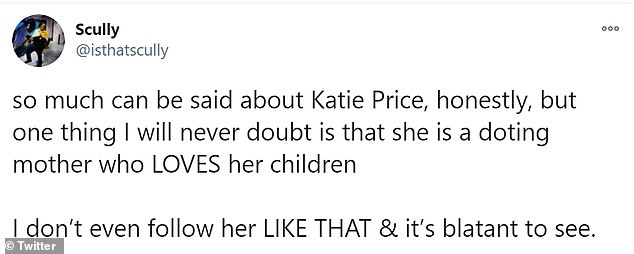 Support: Following her announcement, Katie received a flood of support from Twitter users