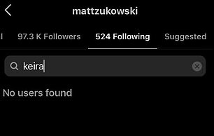 Speculation: The couple both unfollowed each other on Instagram this week - and although Keira, 34, re-followed the professional wrestler shortly after, he hasn't yet returned the favour