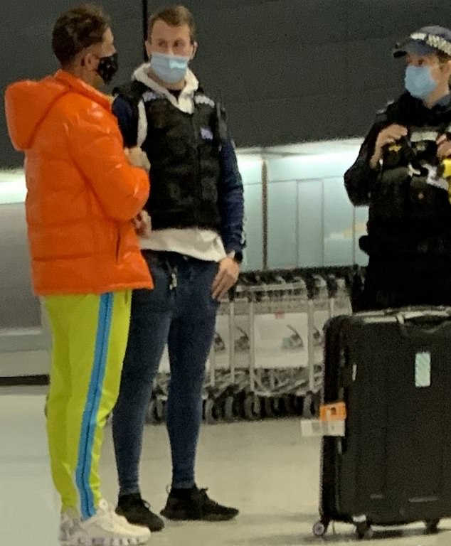 Arrested:The Love Island star, 26, shared the video of her tear-stained face and admitted the 'win still hurt', after Stephen was arrested at Heathrow airport by police (pictured) once he arrived back in the UK following his trip to Dubai