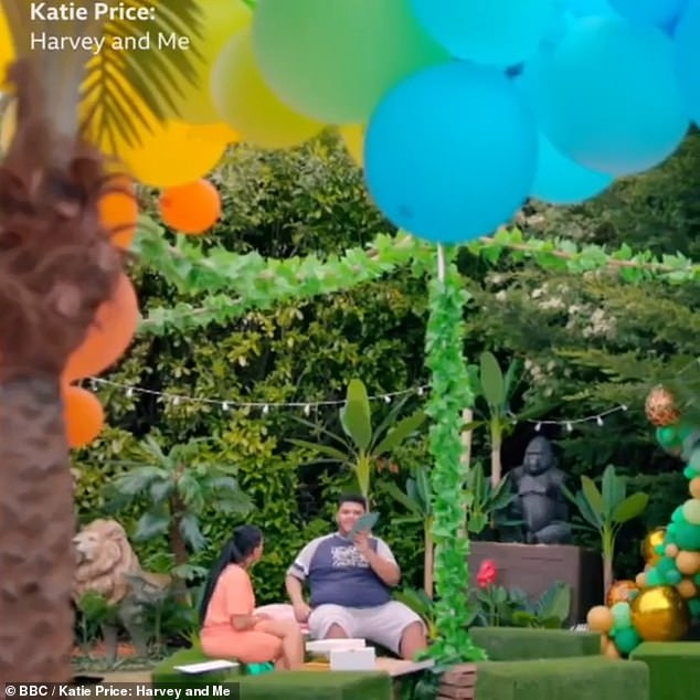 Celebrations: Katie and Harvey are seen sitting in the garden surrounded by balloons as the teen turns 18