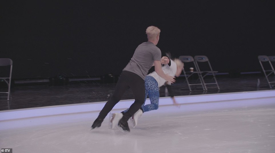 The moment Dancing On Ice 's Denise Van Outen dislocated her shoulder during rehearsal was captured on camera in harrowing footage