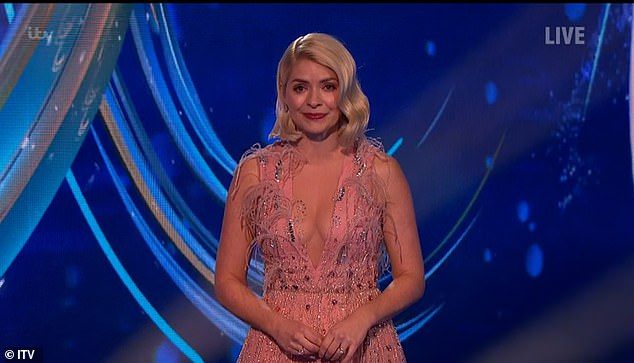 Wow: The TV presenter, 39, was back in action for the new season of the ITV show and donned a pink sheer sleeveless dress for the live show
