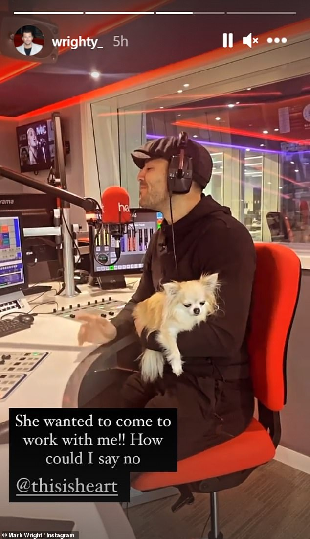 Family: Mark Wright made work a family affair on Sunday as he brought his wife Michelle Keegan and their two pet pooches with him
